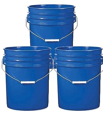 Super Heavy Duty 90 Ml 3 Pack 5 Gallon Green Plastic Buckets HDPE Plastic