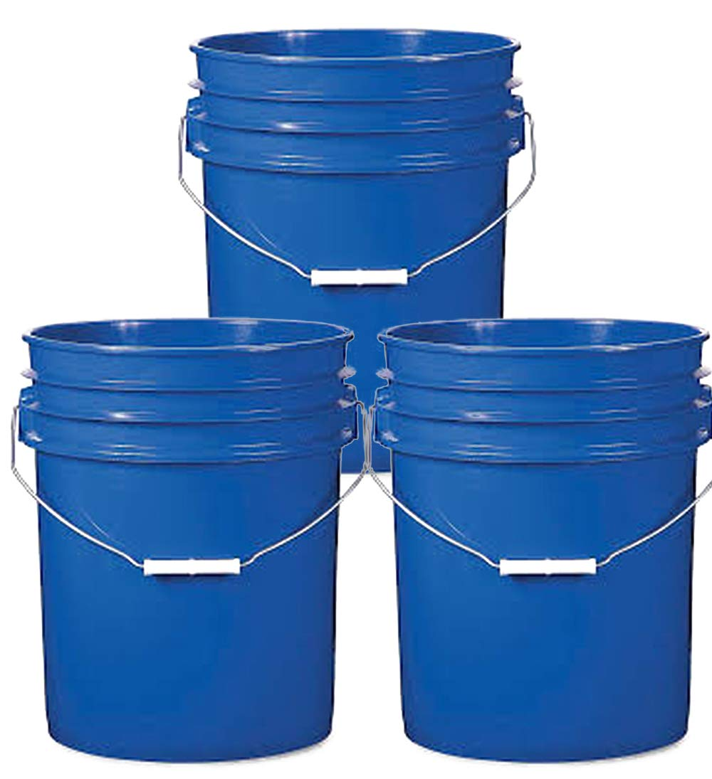 5 Gallon Blue Plastic Buckets | 3 Pack | HDPE Plastic | Super Heavy Duty 90 Ml