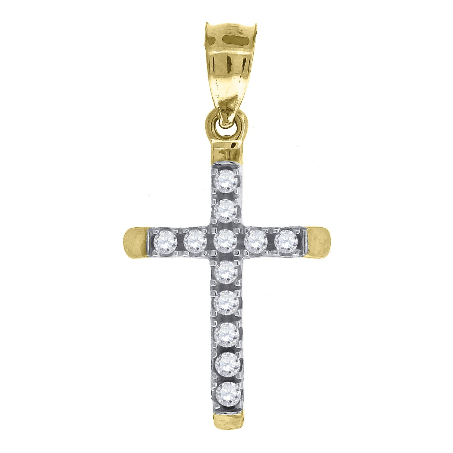Jawa Jewelers 14kt Gold Womens Two-Tone DC Cross Ht:22.3mm Religious Pendant Charm