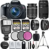 Canon EOS Rebel T5i DSLR Camera + Canon18-55mm IS STM Lens + Canon 75-300mm III Lens + Digital Camera Flash + 0.43x Wide Angle Lens + 2.2x Telephoto Lens + 64GB Storage - International Version