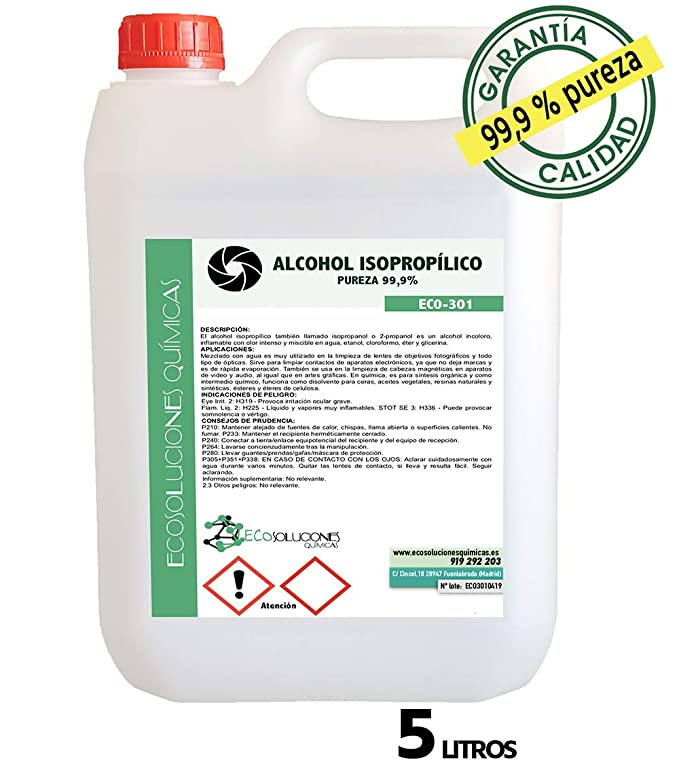 Ecosoluciones Químicas ECO-301 | 5 litros | Alcohol Isopropílico 99,9% Alta pureza IPA | Limpieza componentes electrónicos, Objetivos, Pantallas. ...