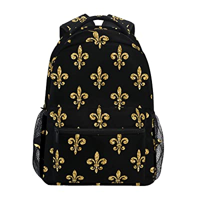 ZZAEO Golden Fleur-De-Lis Floral Black Backpack Purse Laptop Bag Cute School Backpack Travel Accessories Daypack Book Bags for Students/Boys/Girls/Women: Clothing