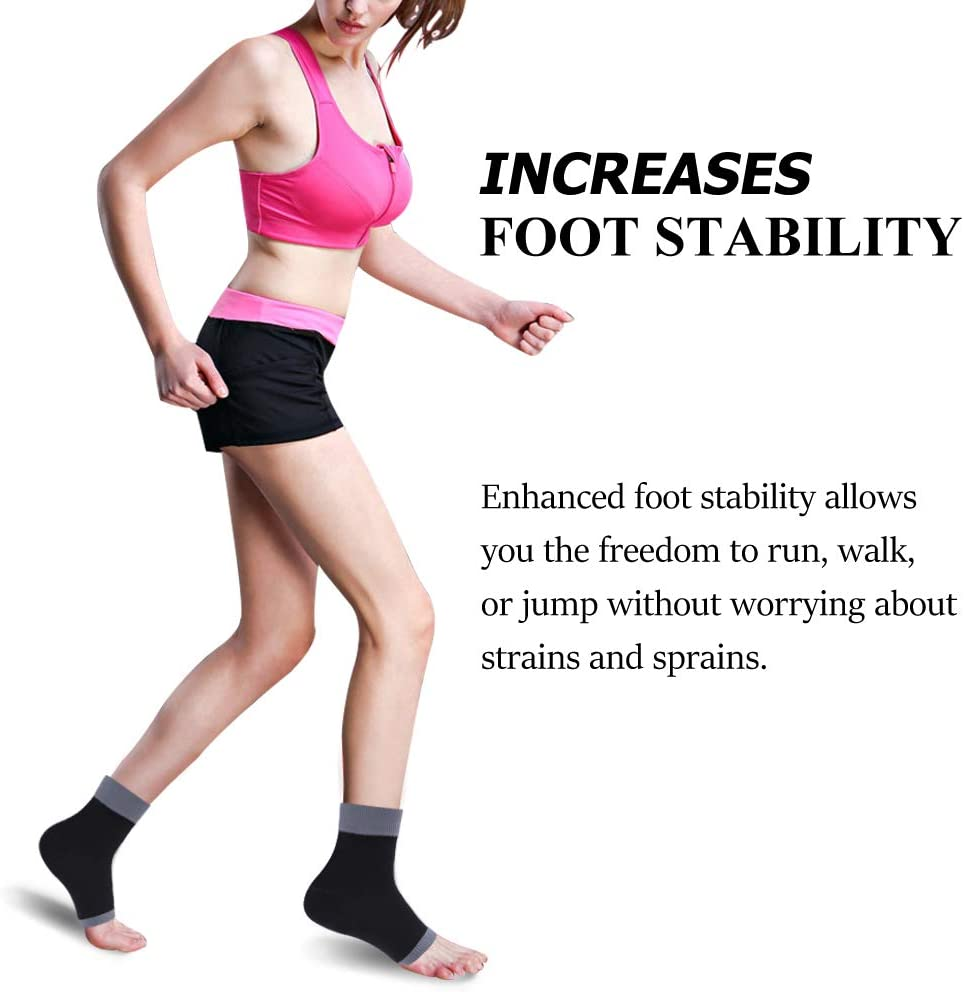 Heel Spurs Swelling 1 Pair Pain Relief Achilles Tendonitis SuMade Womens Girls Running Walk Cycling Compression Foot Sleeves Arch Support for Plantar Fasciitis Edema