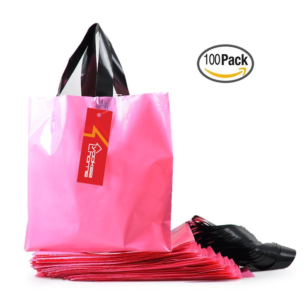 "YookeeHome 100PCS Pink Frosted Plastic Gift Bags, Multipurpose Merchandise Bags Retail Clothing Grocery Supermarket Boutique Shopping Bags with Handles, 10"" X 13.5"""