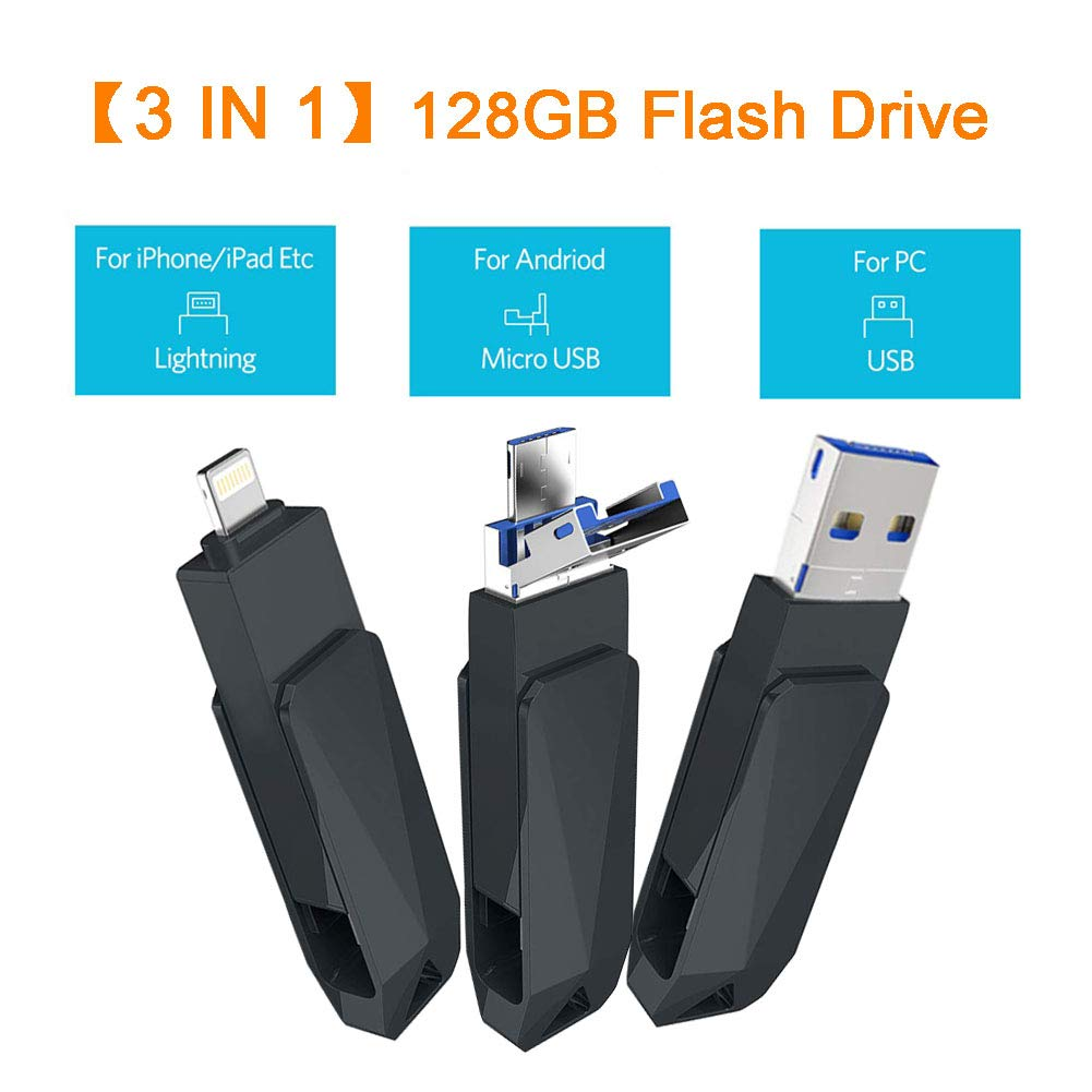iOS Flash Drive 128GB Android USB Memory Stick 3 in 1 Universal USB Flash Drive External Storage for iPhone iPad Mac, Android/iOS and Computers (Grey)
