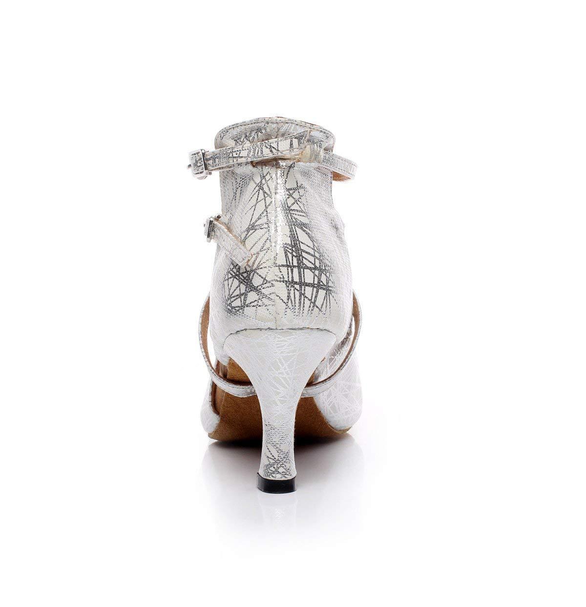 HhGold Damen Tanzschuhe Leder Leder Leder Latin Chacha Samba Modern Jazz Tanzschuhe Silber-Absatz5.5cm-UK3.5   EU34   Our35 f0e1c4