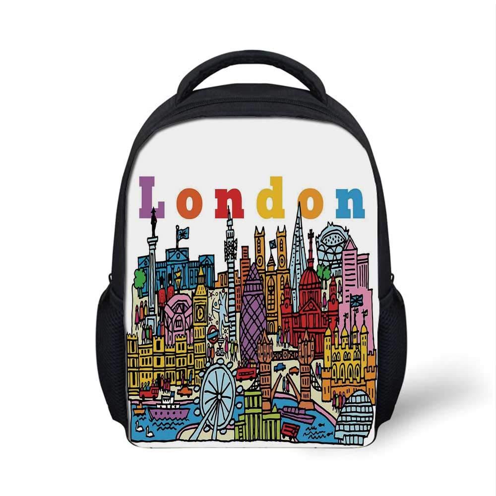 Amazon.com | London Stylish Backpack, Multicolor Cartoon ...