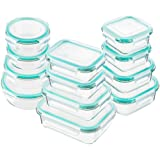 Bayco Glass Food Storage Containers with Lids, [24 Piece] Glass Meal Prep Containers, Airtight Glass Bento Boxes, BPA Free & FDA Approved & Leak Proof (12 lids & 12 Containers) (Color: Blue, Tamaño: 12Set-blue)