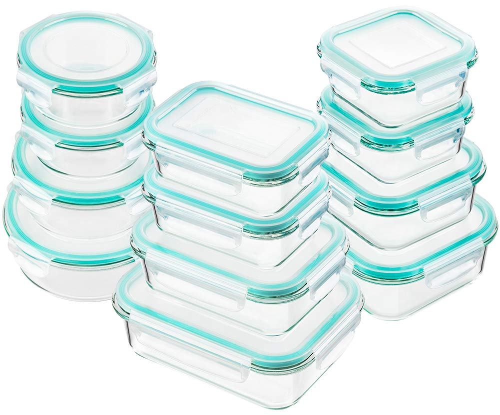 Bayco Glass Food Storage Containers with Lids, [24 Piece] Glass Meal Prep Containers, Airtight Glass Bento Boxes, BPA-Free & FDA Approved & Leak Proof (12 lids & 12 Containers) by BAYCO