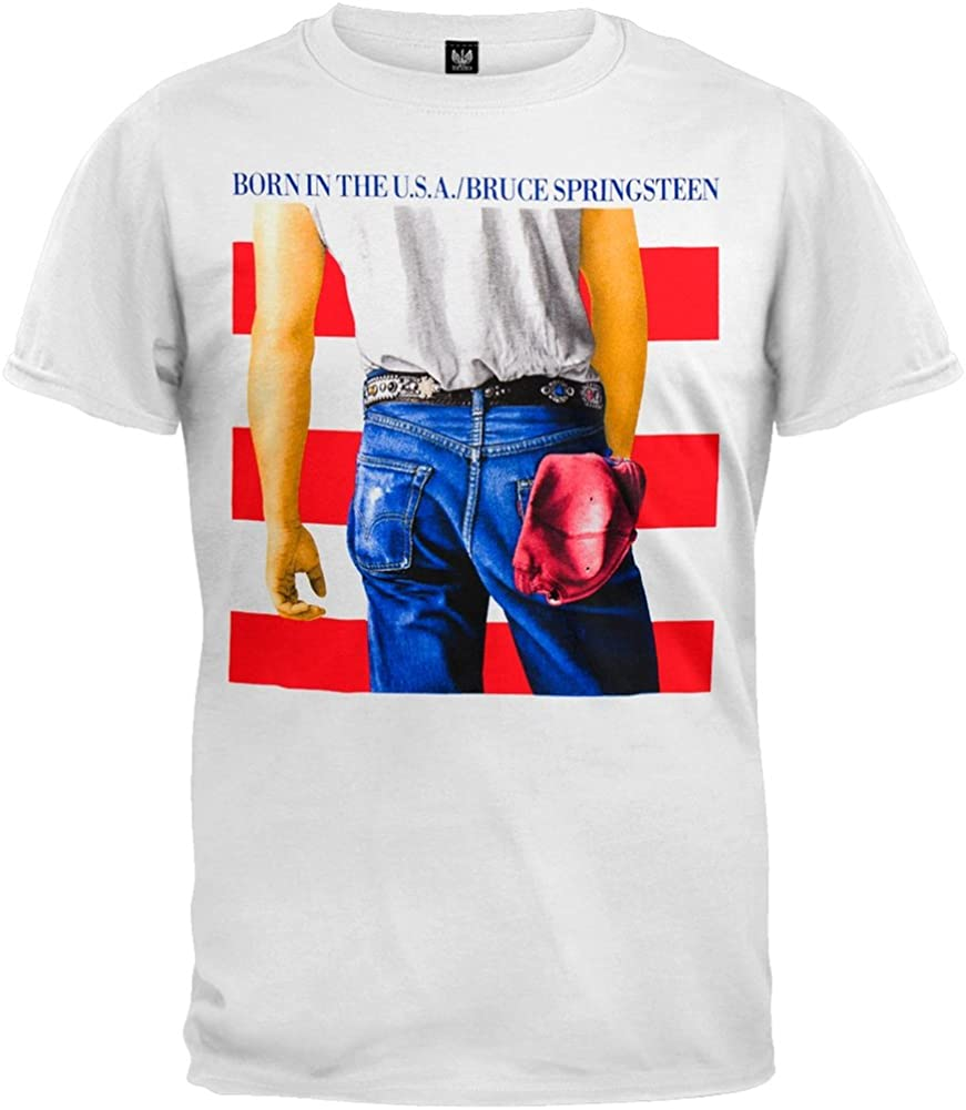 NEW /& OFFICIAL! White T-Shirt Bruce Springsteen /'Born In The USA/'