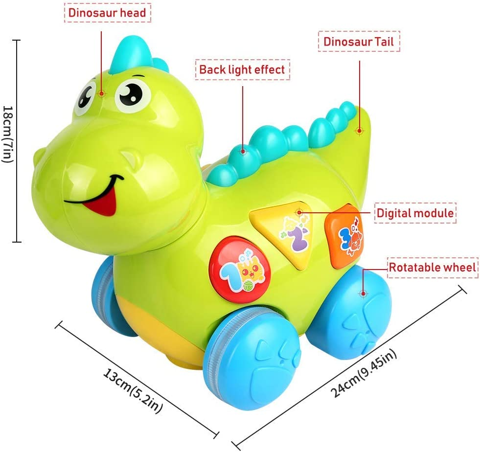 Learning Activity YoSpot Talking Dinosaur Toy with Lights and Sounds for Kids Teaching Walking /& Fun Action