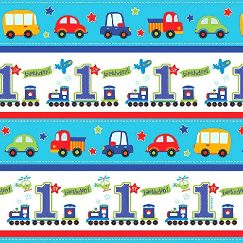 Chugging All Aboard 1st Birthday Party Gift Wrap , Blue, Paper , 5 Feet x 30