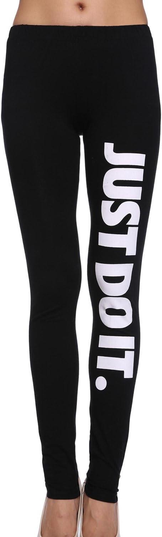 Pantaloni di Pantaloni di Pantaloni di Stirata delle Donne Just DO I Pantaloni a Stampa Alfabeto a Forma di IT Nero TOOGOO R