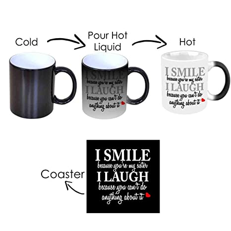 GiftsmateTM Birthday Bhaidooj Gifts For Sister Funny Teasing I Smile Laugh Magic Mug