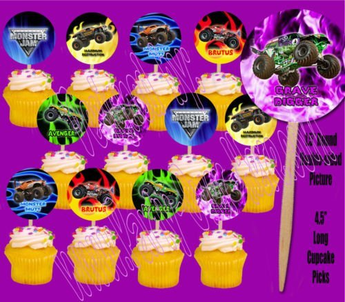 Monster Jam Monster Trucks Cupcake Picks Cake Topper