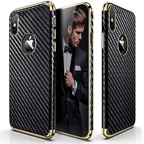 e, iPhone Xs Case (2018) Slim Premium Luxury Leather Vintage Textured Back Cover Soft Flexible Body Non-Slip Shockproof Case Compatible with iPhone X XS 10 - Carbon Fiber ()