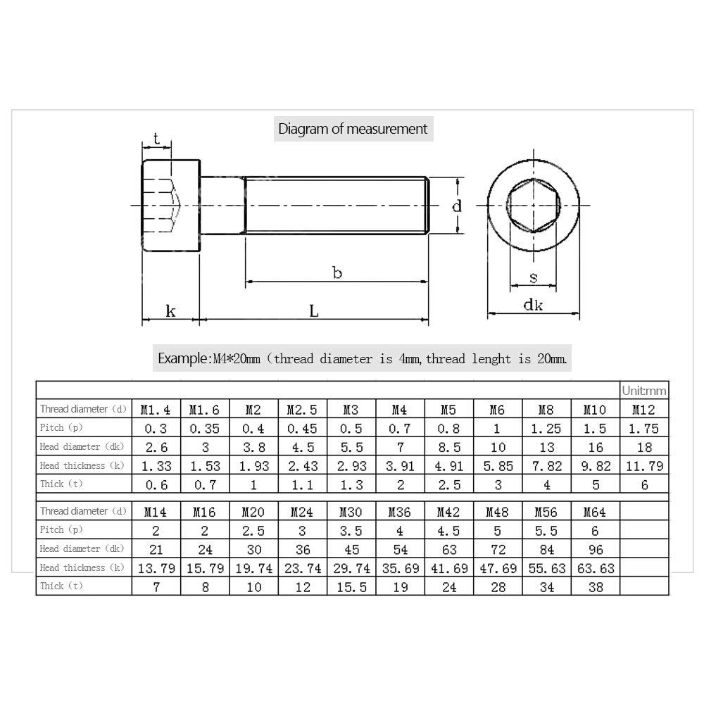 Outils de Construction de Maison Boulons /à vis pour Machines M5*45 KINDOYO Boulons M5