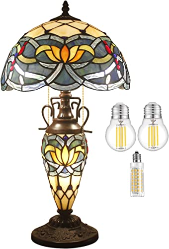 Tiffany Table Lamp Bulb Included Stained Glass Night Lighting Base W12H22 Inch Blue Lotus Style Shade S220 WERFACTORY Lamps Lover Friend Living Room Bedroom Bedside Coffee Table Reading Craft Gift