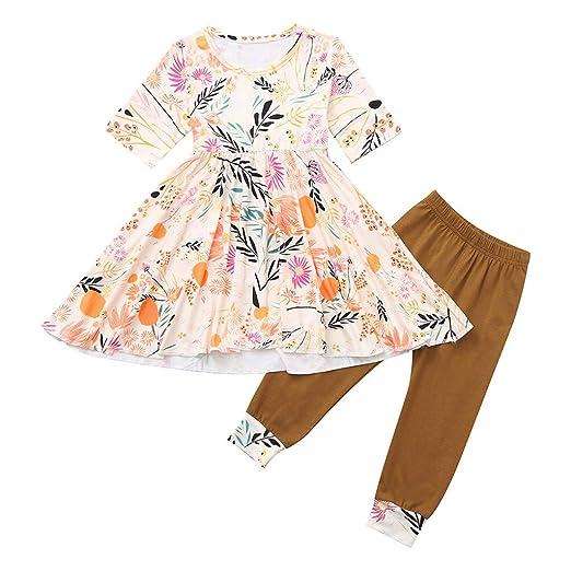 3a4c0f7b9 Amazon.com: 2Pcs Toddler Kids Baby Girls Floral Short Tops Dress + Pants  Leggings Outfits Clothes Set: Clothing