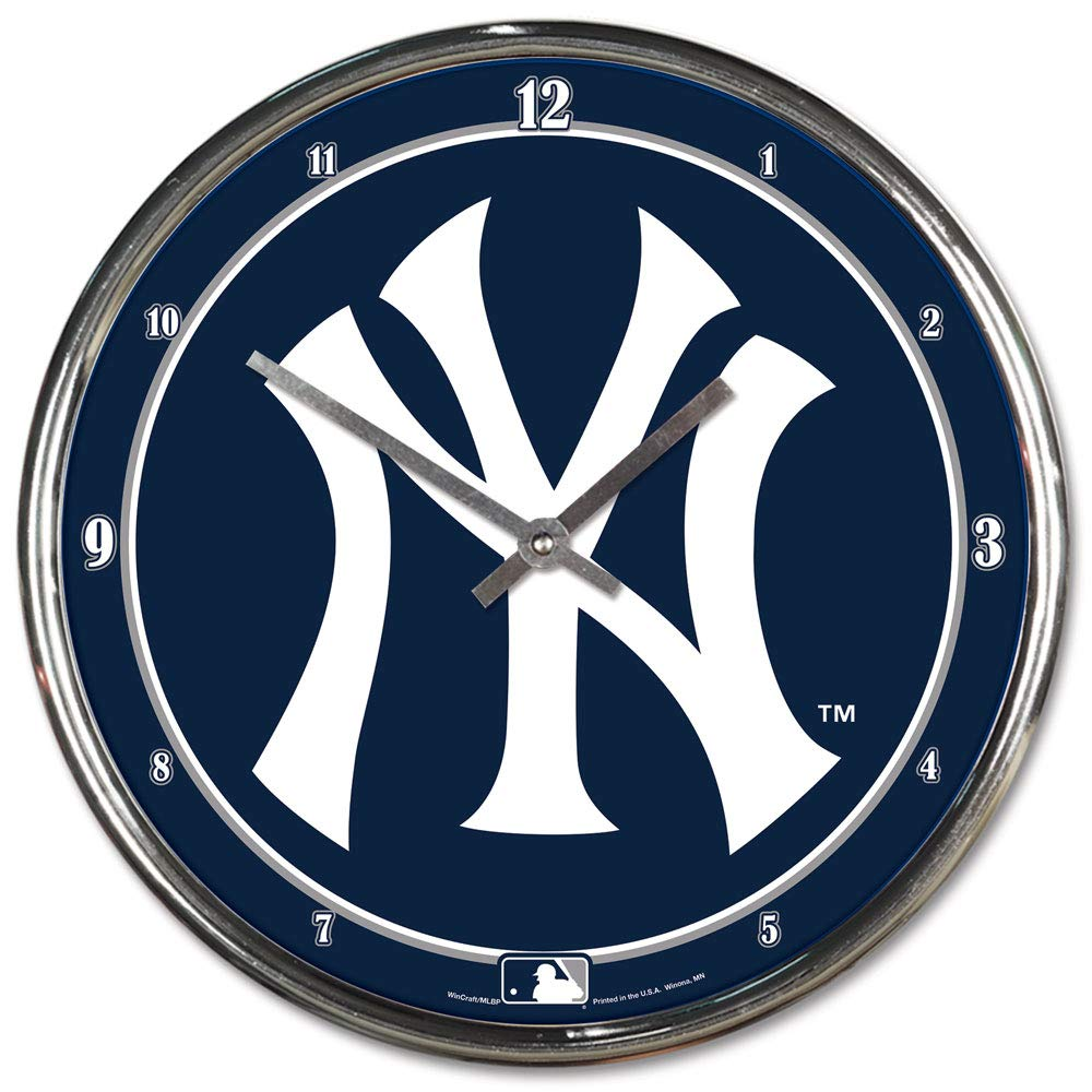 MLB New York Yankees Chrome Clock, 12'' x 12'' by WinCraft