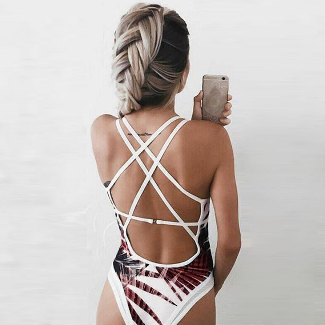 83af8482fd Womens Sexy Leaves Print Padded Deep V-Neck One Piece Swimsuit Bathing Suit  Monokini Bikini at Amazon Women s Clothing store