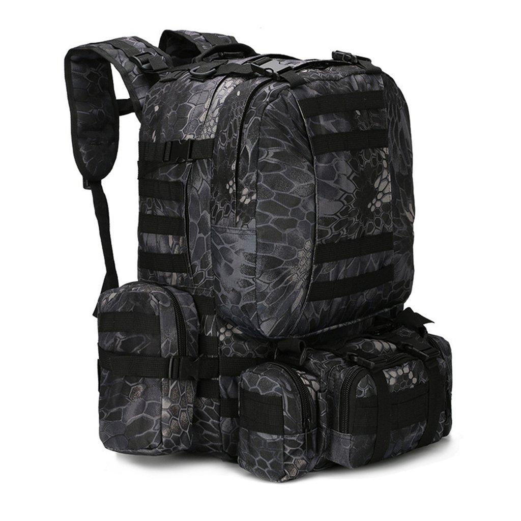 Gumstyleアウトドア迷彩Camouflage Military MOLLE Armyタクティカルバックパックリュックサック旅行スポーツキャンプハイキングバッグ B01D9P39FA Python Black