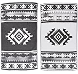 Bersuse 100% Cotton - Cozumel Turkish Towel - Bath Beach Fouta Peshtemal - Aztec Navajo Tribal Bohemian - Dual-Layer Handloom Pestemal -39X71 Inches, Black (Set of 6)