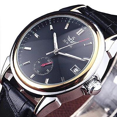 SEWOR Brand Business Men Automatic Mechanical Watch Auto Date Dial Leather Strap Stylish Dress Wristwatch
