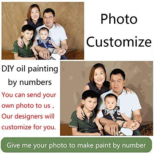 50X60CM  KYKDY Photo personnalisé faire votre propre peinture à l'huile de bricolage personnalisé par numéros image dessin toile portrait mariage photos de famille, 40X55CM