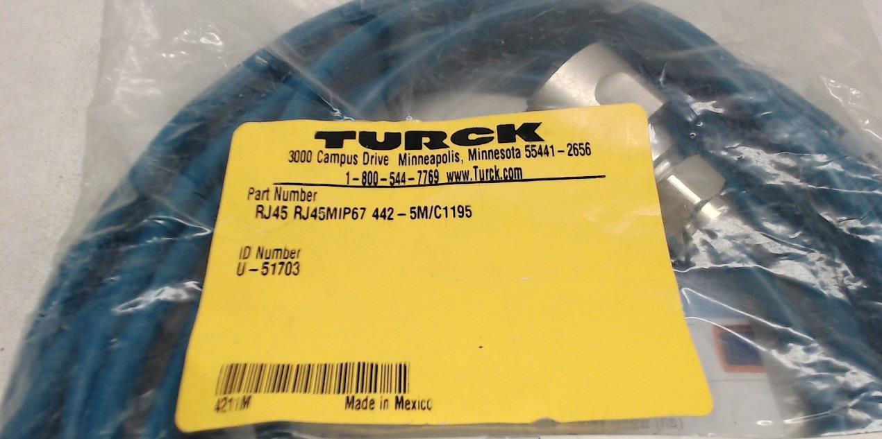 Turck Rj45 Rj45mip67 442-5M//C1195 Double-Ended Ethernet Cable 5 Meters Rj45 Rj45mip67 442-5M//C1195
