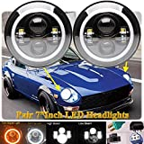 2Pcs 7 Inch LED Round Lights Halo Angel Eye Headlight for Datsun 240Z 260Z 280Z 280ZX 1970-78 High Low Beam DRL Amber Turn Signal Lamp Super Bright