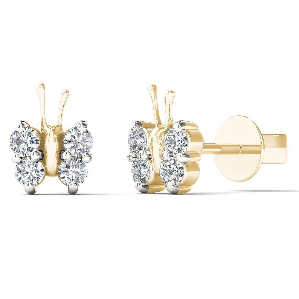 JewelAngel Kids Big Girl's 1/6 Carat TDW Diamond Dainty Butterfly Stud Earrings (H-I, I1-I2) 10K Yellow Gold