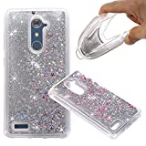 ZTE ZMAX Pro Case, ZTE Carry Z981 Case, Liquid Case, Asstar Fashion Creative Design Flowing Liquid Floating Luxury Bling Glitter Sparkle Diamond Soft Case for ZTE ZMAX Pro/Carry Z981 (Silver)