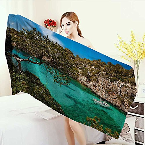 Anhounine Washable Large Bath Towel Nature Small Yacht Floating in Sea Majorca Spain Rocky Hills Forest Trees Scenic View 100% microfiber 55''x27.5'' Green Aqua Blue by Anhounine