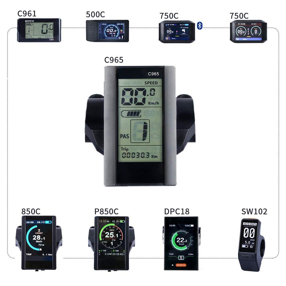 BAFANG HMI Mid Motor Display Electric Bike Odometer Bike Speed Meter Mid Drive Motor(C965)
