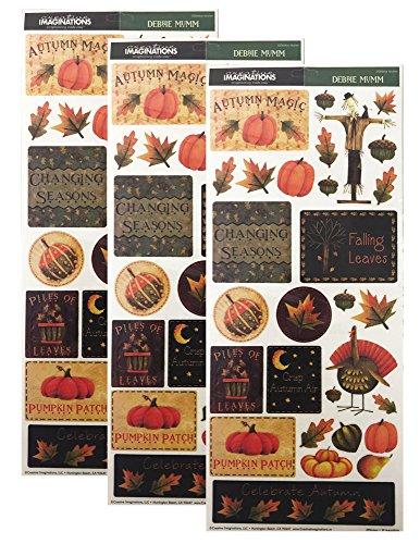 Creative Imaginations Debbie Mumm Fall Harvest Thanksgiving Stickers (Pack of 3)