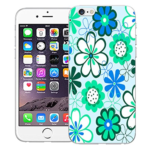 """Mobile Case Mate iPhone 6 4.7"""" Silicone Coque couverture case cover Pare-chocs + STYLET - Blue Daisy pattern (SILICON)"""