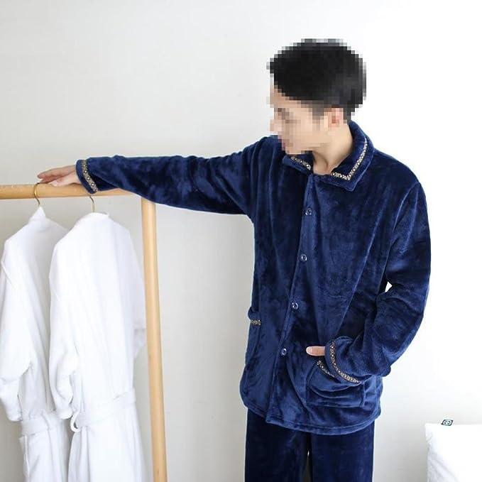 Pijamas Para Hombres Otoño E Invierno Franela De Manga Larga Chándal,Blue-XXXL