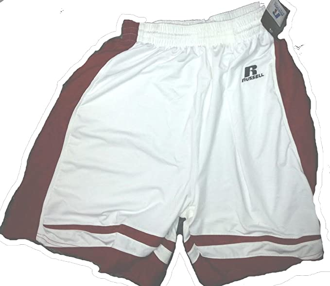 ca49868e4cb9d2 Russell Athletic Adult Panel Stock Basketball Shorts White Red 1B272XK  (Small)
