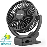 OPOLAR Rechargeable Battery Operated Clip on Fan 5000mAh, Upgraded Quieter & Stronger Wind USB Desk Fan, Strong Hold Personal Portable Fan for Stroller, Golf Cart, Treadmill, Beach, Camping tent