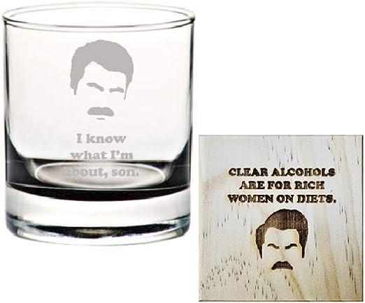 Ron Swanson Rocks Juego de vasos y posavasos: Parques y ventilador rec grabados con vaso de whisky/juego de vasos de regalo para Ron Swanson Fan, I ...