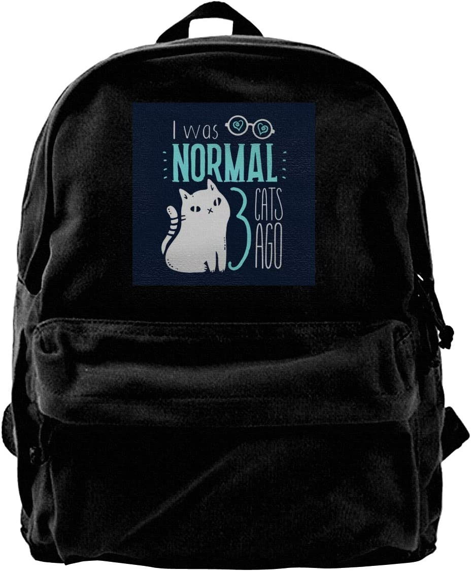MIJUGGH Canvas Backpack Normal Three Cats Ago Rucksack Gym Hiking Laptop Shoulder Bag Daypack for Men Women