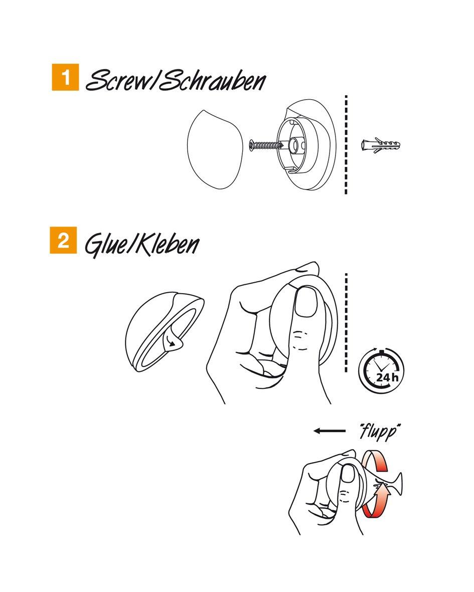 Design Prezzo/ /Metallo Spazzolato Diametro 38/X 16/mm Bianco thermoplatischer Gomma Wagner Design della Parete della Porta Stopper Screw or Glue Viti o Colla/ /15513011