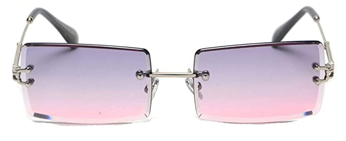 Amazon.com: Gafas de sol rectangulares sin borde para mujer ...