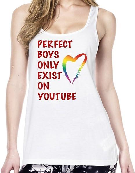 Perfect Boys Only Exist On Youtube Slogan Camiseta estilo Tœnica Mujeres Medium