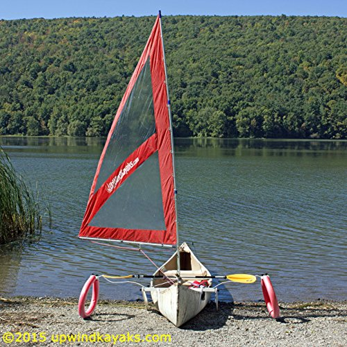Serenity Upwind Kayak Sail and Canoe Sail Kit (Red). Complete with Telescoping Mast, Boom, Outriggers, Lee Boards, All Rigging Included! Compact, Portable, Easy to Set up - Makes a great gift ! by Sailskating (Image #7)