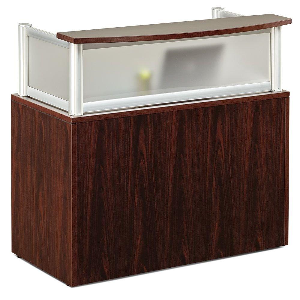Neoterik Collection Reception Desk- 48''W Mocha Laminate/Plexi Side Panels Dimensions: 48''W x 21.5''D x 43.25''H Weight: 176 lbs.