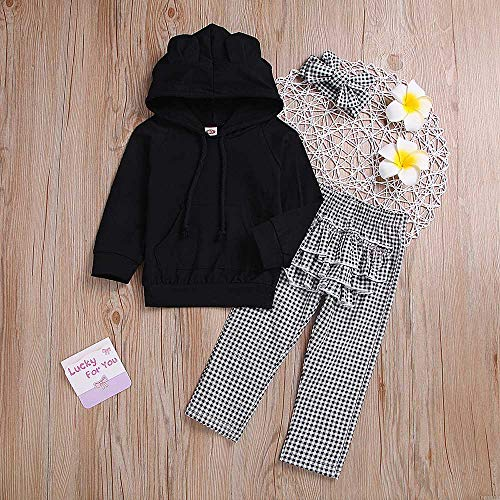 NUWFOR Toddler Baby Solid Ruffle Hoodie Tops+Plaid Pants+Headband Outfit Clothes (Black,12-18 Months by NUWFOR (Image #1)