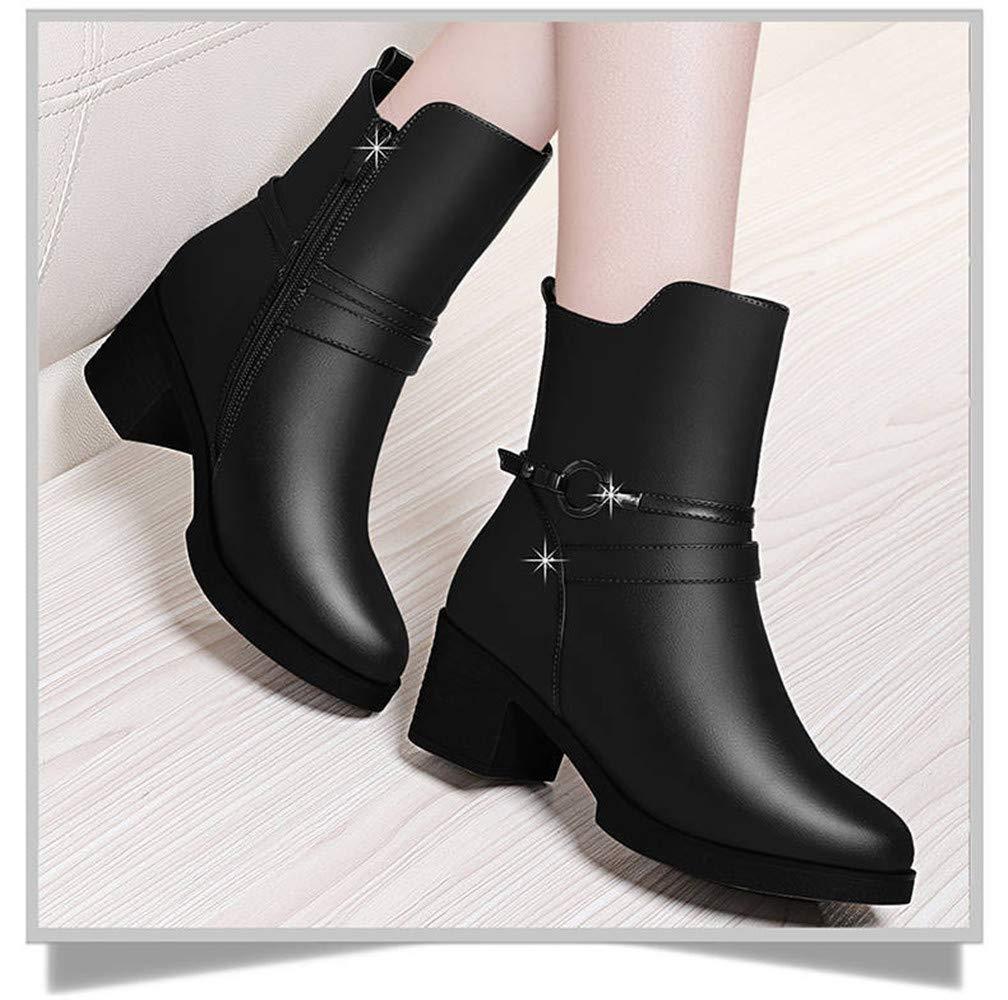 ZHRUI High Heels Plus Samt-Seitenreißverschluss-Mutterstiefel mit Einem Einem Einem dicken Martinstiefel (Farbe   35, Größe   -)  37eff3