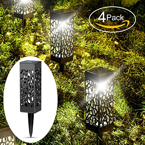 Solar Lights Outdoor Garden Powered Path Lighting Solar Glow Led Pathway Lights Front Gate Bright Solar Landscape Lights Black Waterproof Sidewalk Lamp for Patio Walkway 4 Pack B&G
